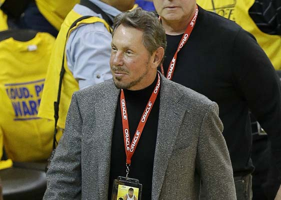 Oracle CEO Larry Ellison arrives at an opening-round NBA basketball playoff series between the Golden State Warriors and the Los Angeles Clippers. (AP Photo/Jeff Chiu, file)