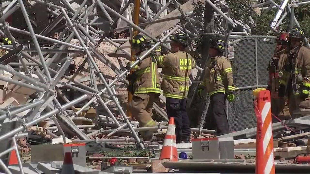 A huge scaffolding collapsed at an apartment building under construction near Minute Maid Park in downtown Houston.