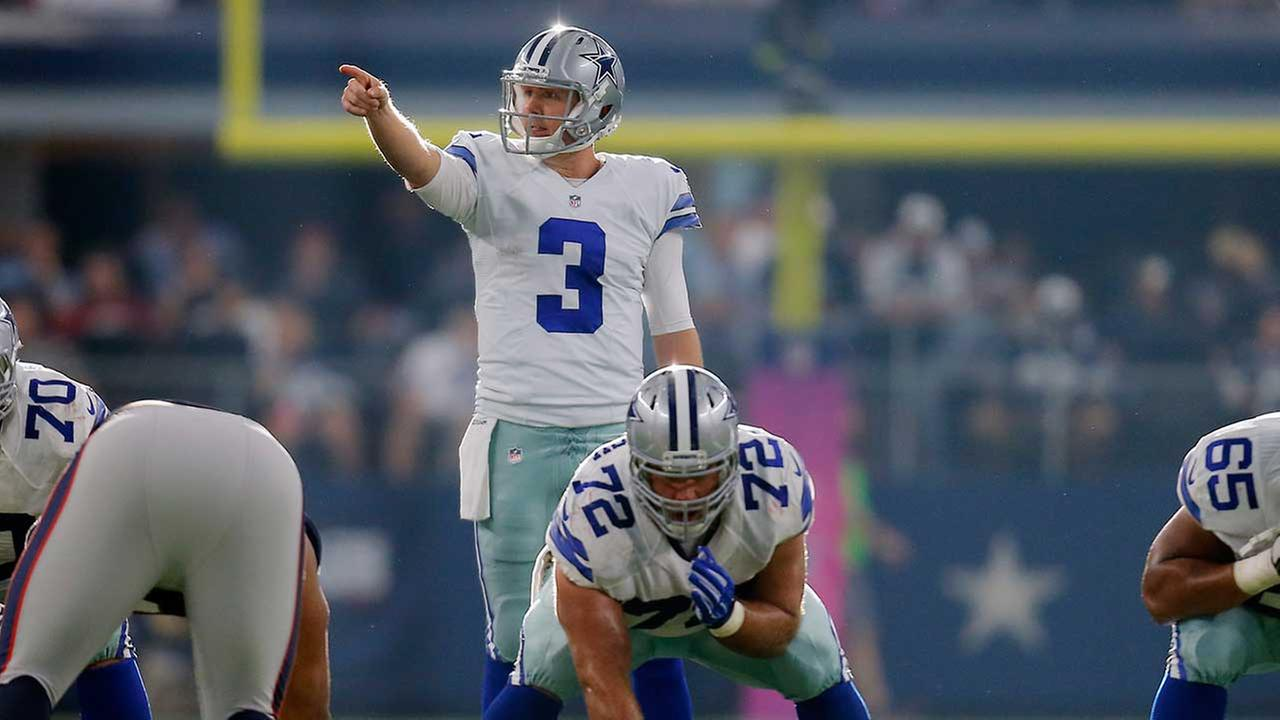 Dallas Cowboys Brandon Weeden (3) gives direction during the second half of an NFL football game against the New England Patriots