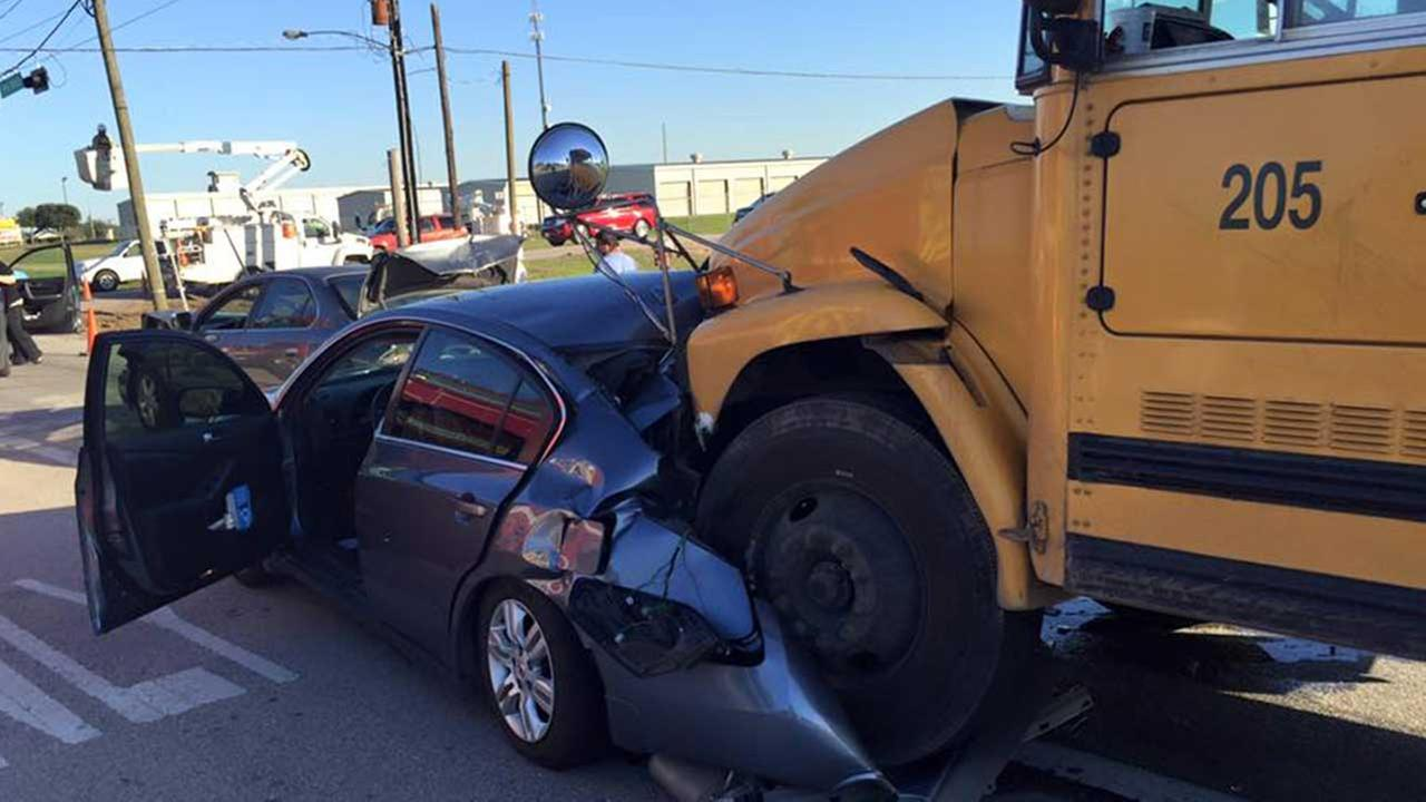 According to Fulshear police, no children were on the bus and the drivers suffered only minor injuries.