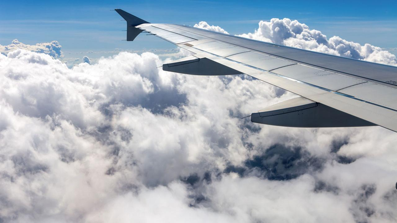 Airplane wing during air travel