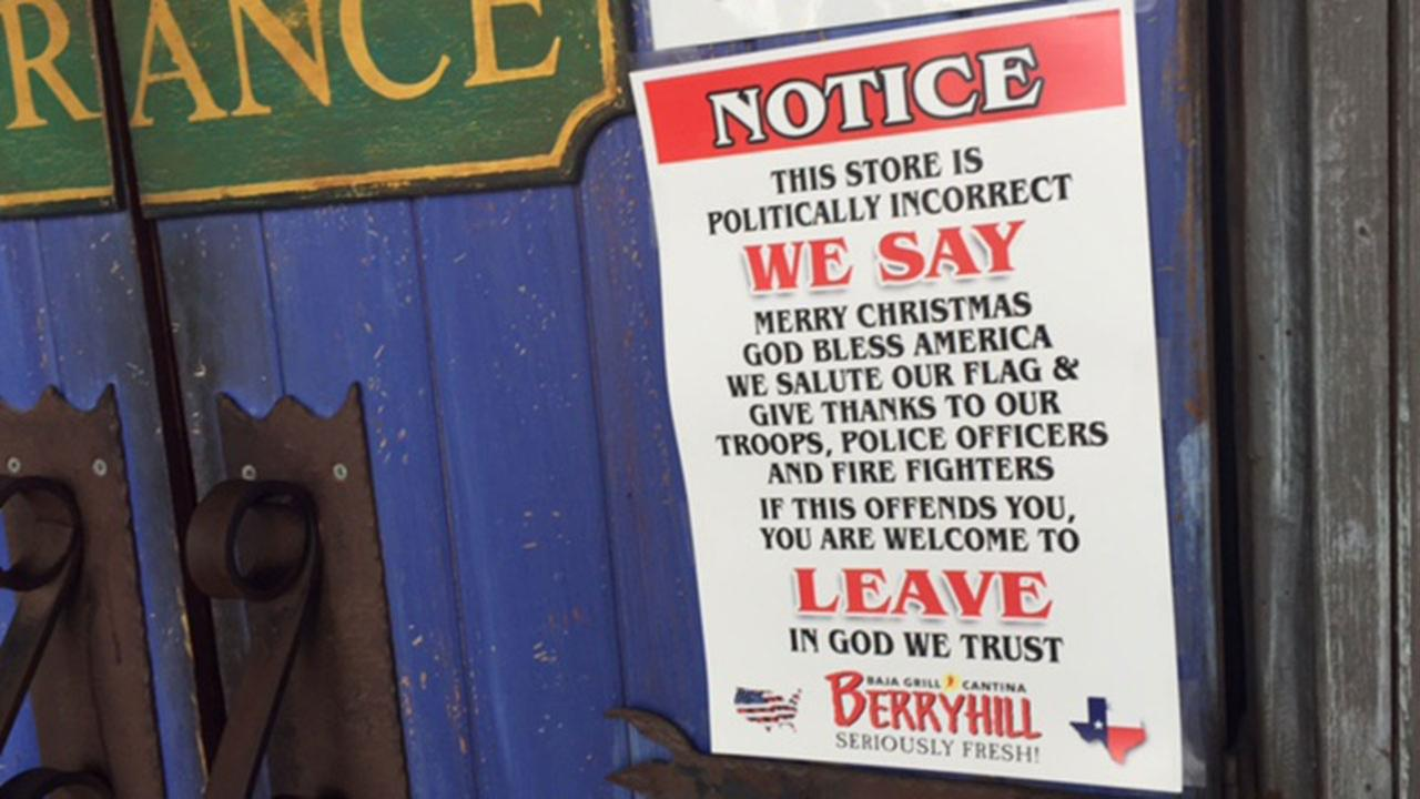 Anti-politically correct signs draw attention at popular Houston chain restaurant