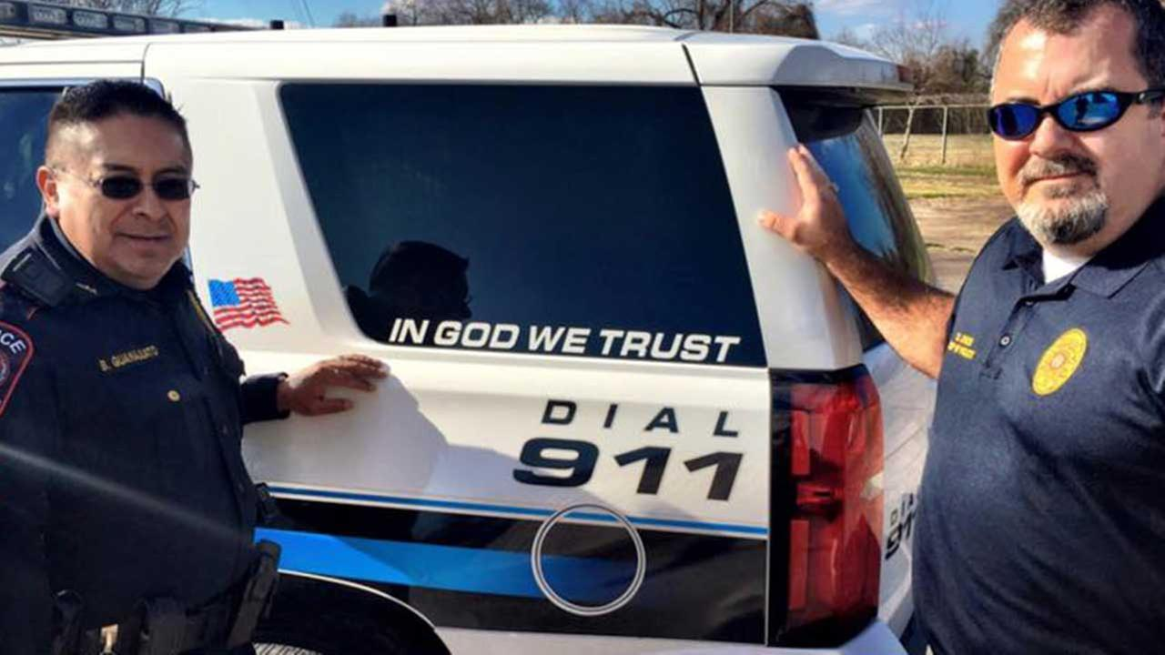 Wharton PD rolls out 'In God We Trust' stickers on police cruisers