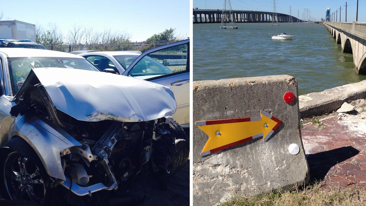 Car drives off old causeway, into water in Galveston