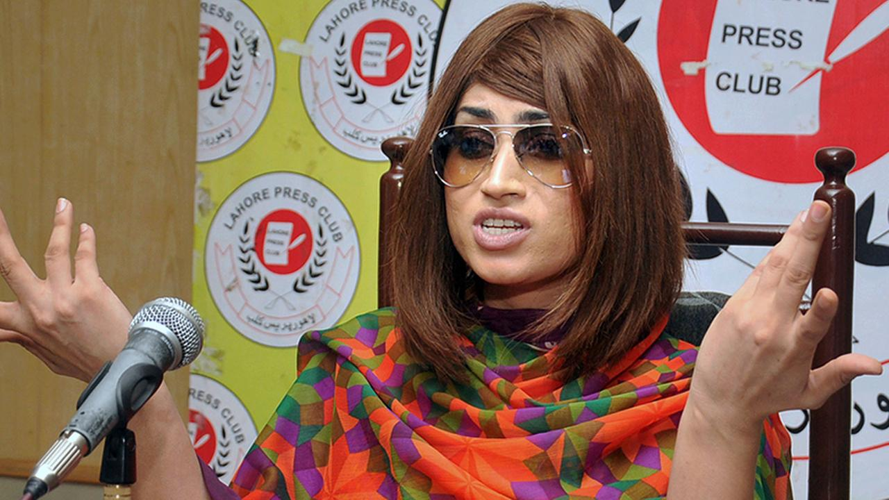 In this picture taken on June 28, 2016, Pakistani fashion model Qandeel Baloch speaks during a press conference in Lahore, Pakistan