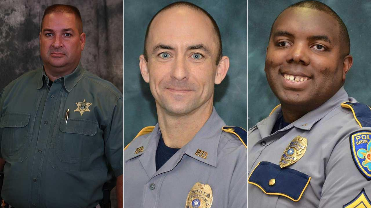 From left to right,  East Baton Rouge Sheriffs Office deputy Brad Garafola, Baton Rouge PD officers Montrell Jackson, 32, and Matthew Gerald, 41