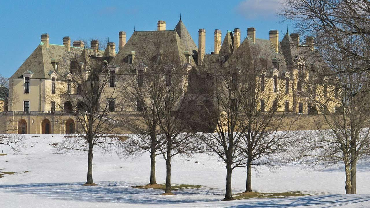 Snow covers the grounds of the Oheka Castle on Monday, Feb. 24, 2014, in Huntington, NY