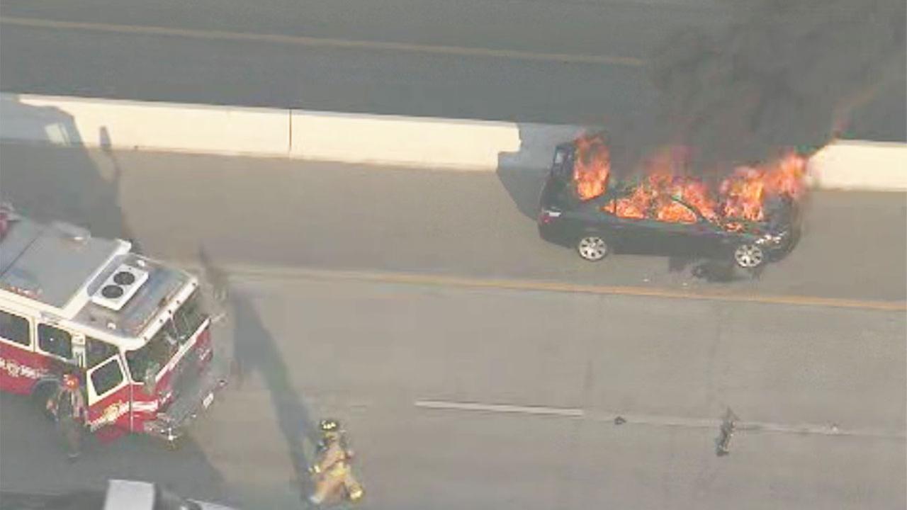Car fire along west Beltway backs up traffic for miles