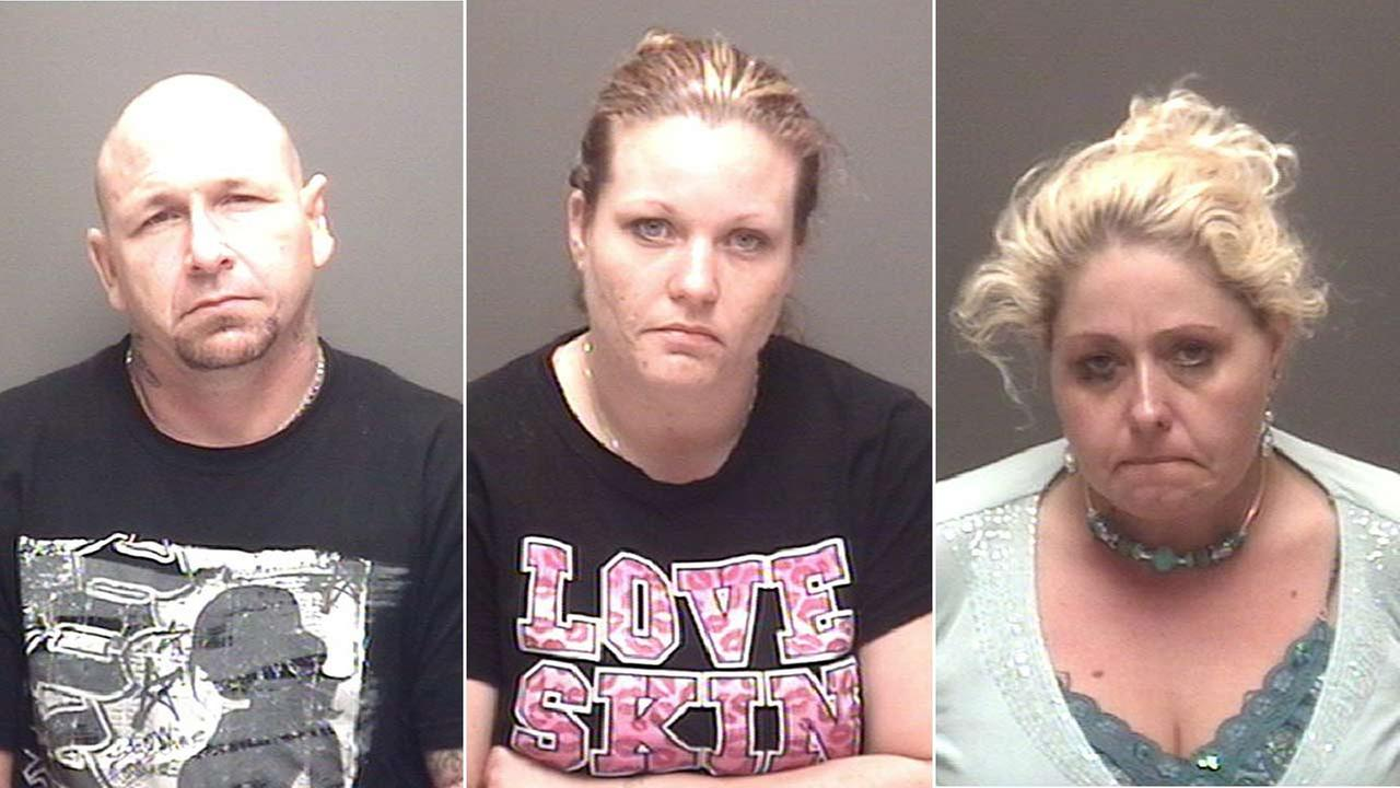 Robert Thomas (left), Ashlie Hocutt (center) and Toni Pannell (right) are facing drug charges after an investigation in Bacliff, Texas