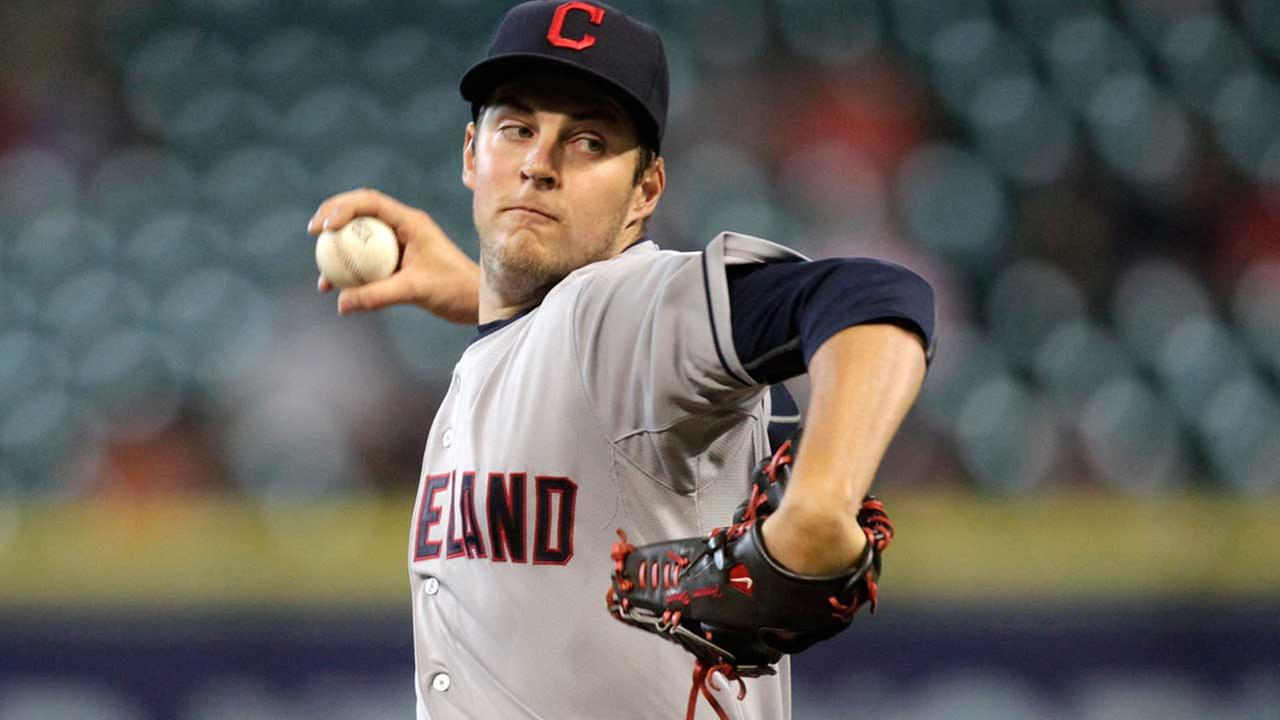 Cleveland Indians pitcher Trevor Bauer throws during the first inning of a baseball game against the Houston Astros