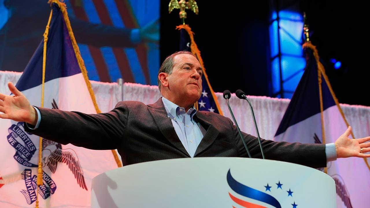 Former Arkansas Governor Mike Huckabee speaks at the Iowa Faith and Freedom 15th Annual Spring Kick Off, in Waukee, Iowa, Saturday, April 25, 2015