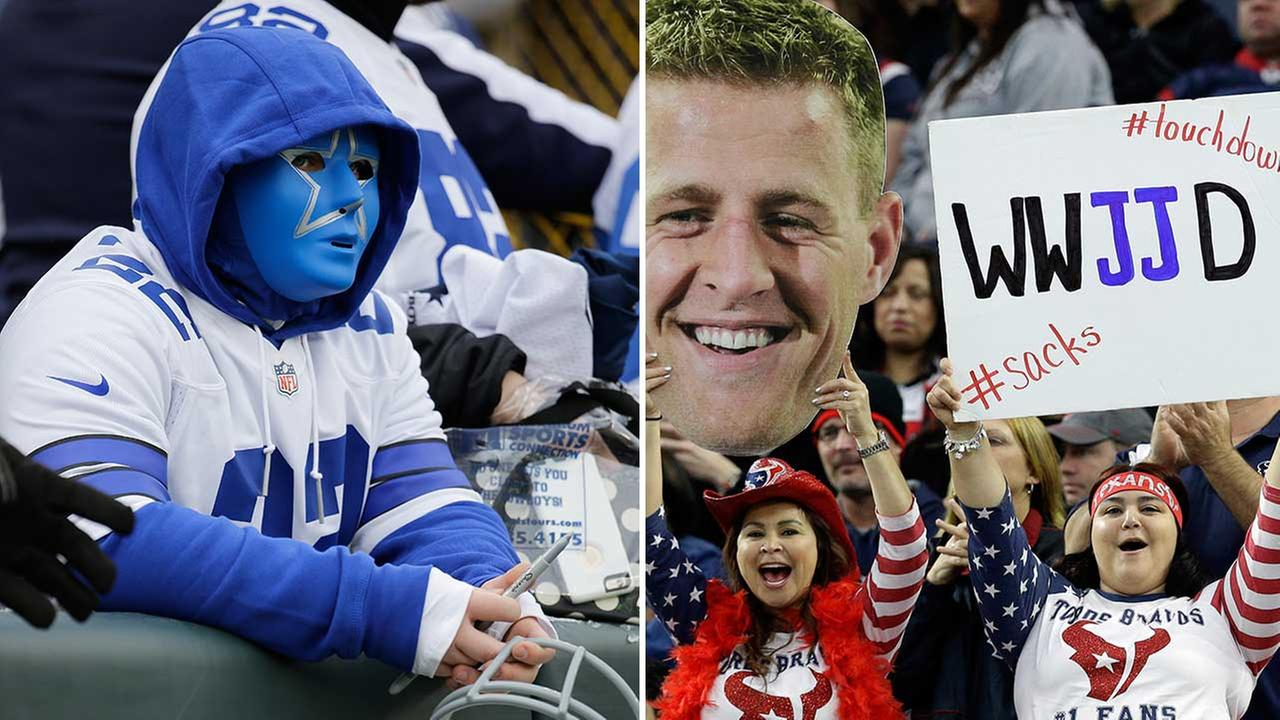 According to the survey, the Dallas Cowboys have the NFLs best fans.  Texans fans come in at No. 12