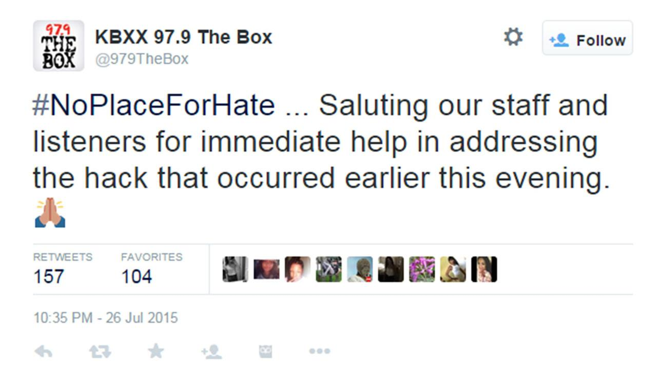Hackers display racial slur on hip hop radio station's dial