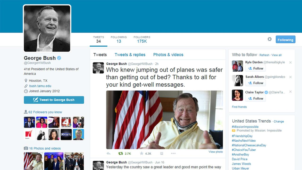Ex-President George HW Bush tweets about his spill