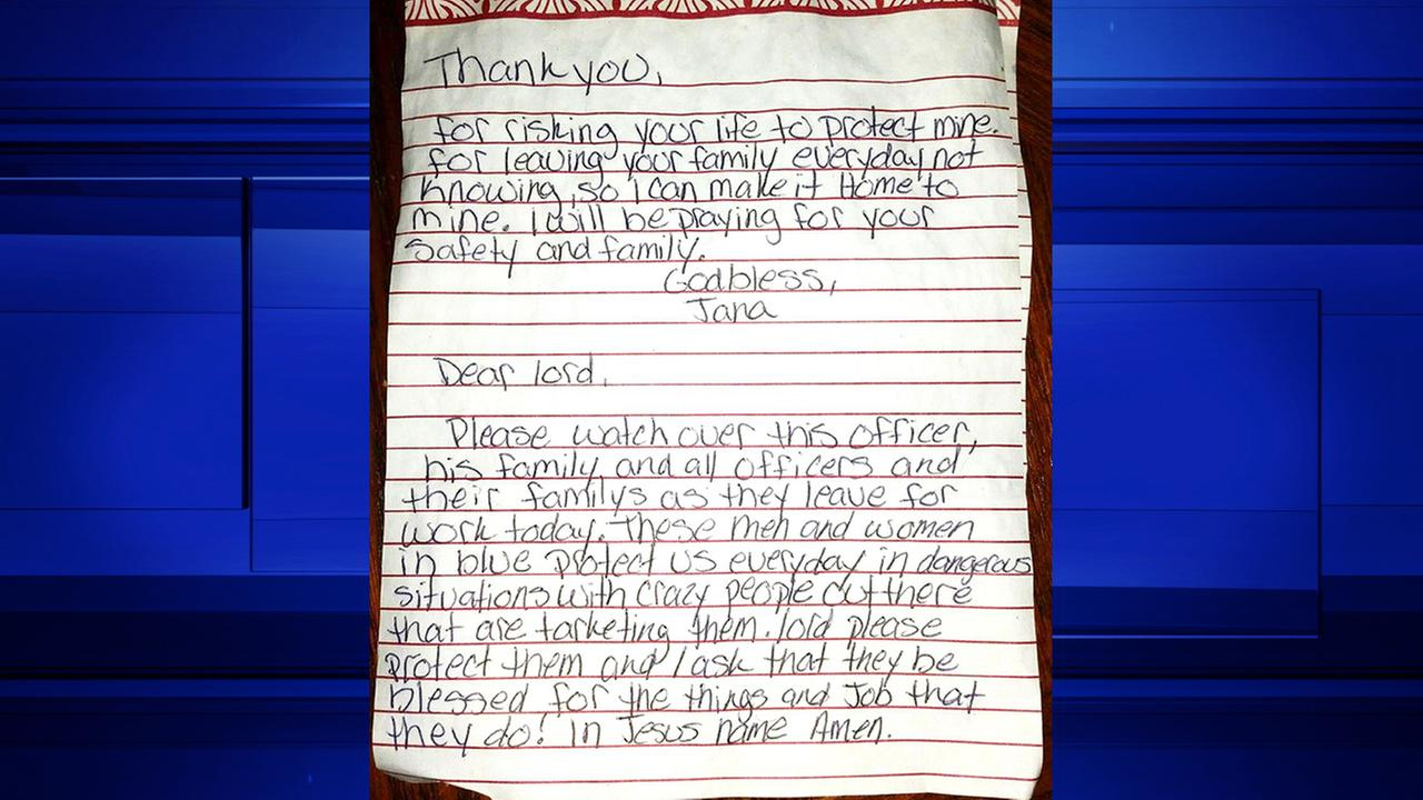 Note of thanks, prayer left on Montgomery Co. deputy's squad car