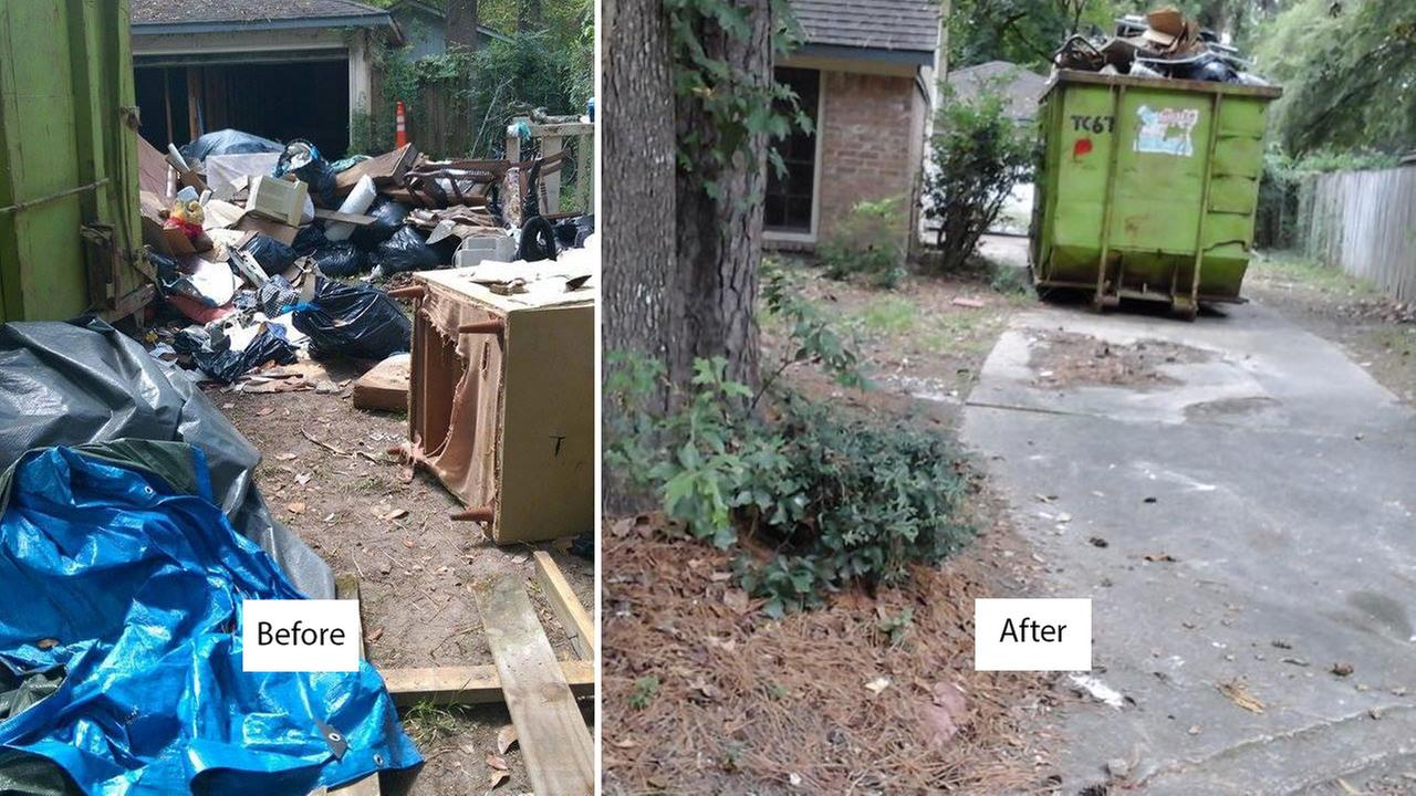 Homeowner cleans up mess in driveway following neighbor complaints