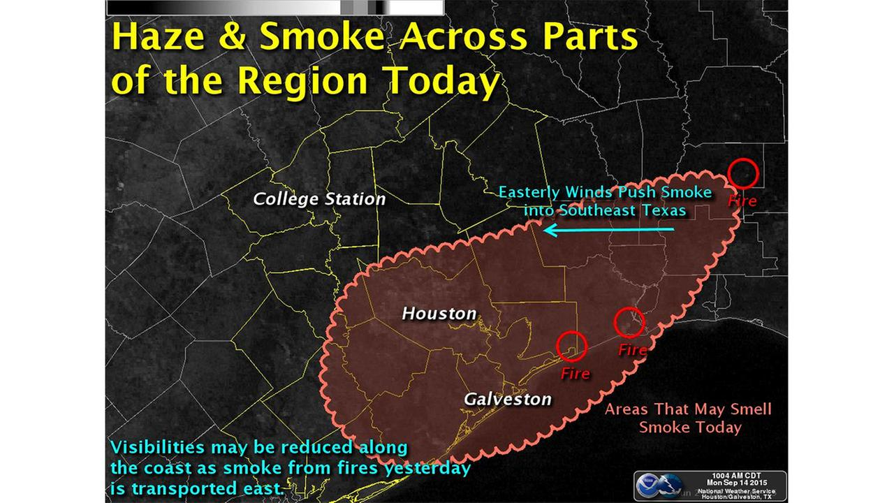Smoke smell around Houston is from east Texas fires