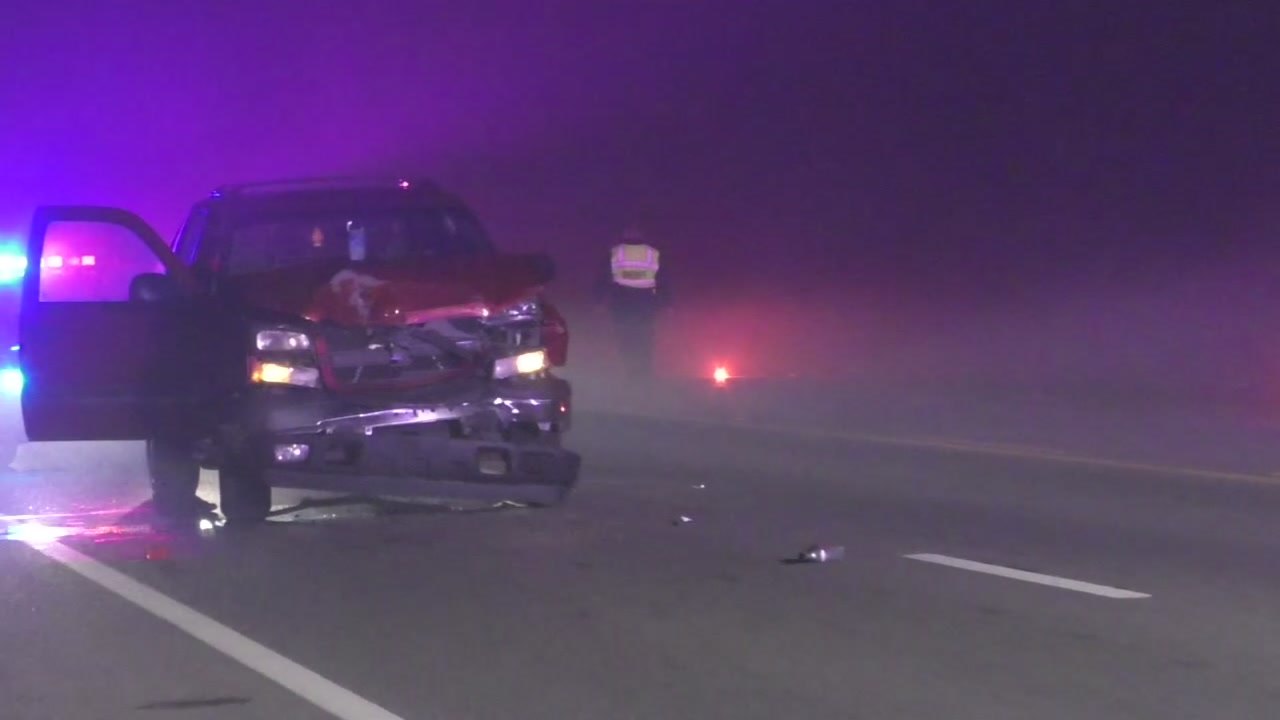 Police say seven vehicles were involved in a series of crashes due to the thick fog in the San Leon community and Texas City areas.