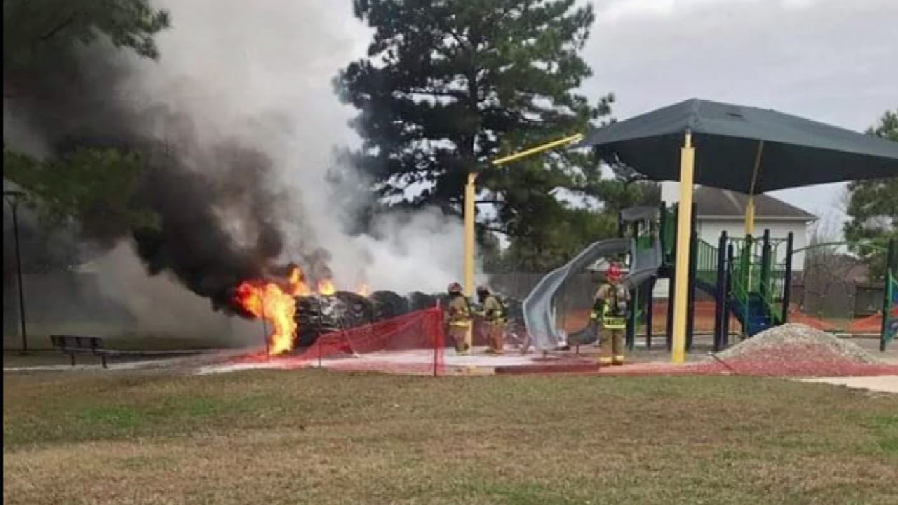 Juveniles questioned about playground fire in northwest Harris County