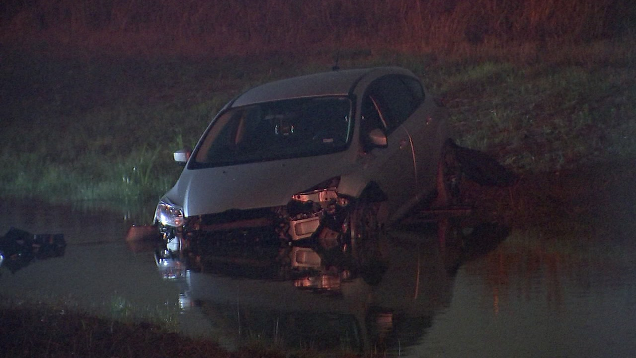 An 18-year-old driver says her car skidded off the road after someone cut her off.