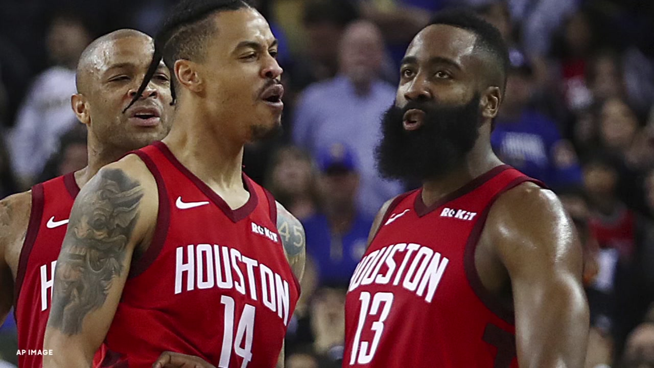 James Harden hit a game-winning 3-pointer in the 135-134 win over the Warriors.
