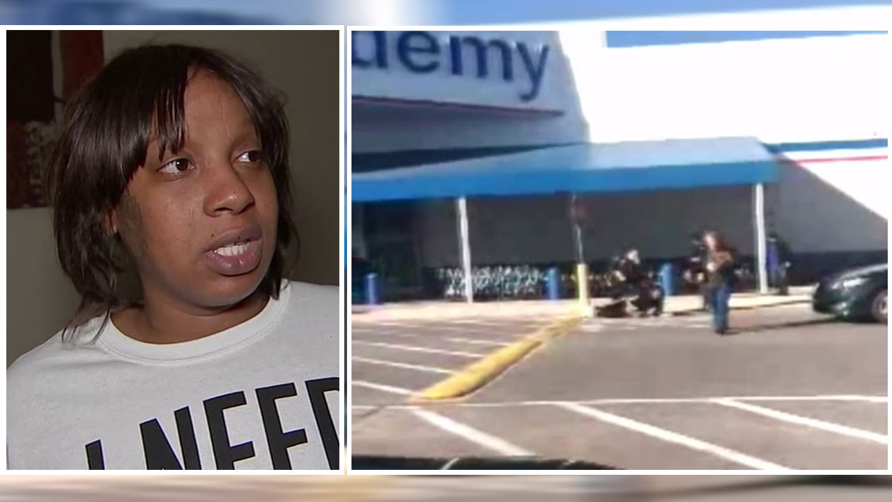 A woman who is more than eight months pregnant said she was hit by a Taser outside a Houston store after she was accused of shoplifting.