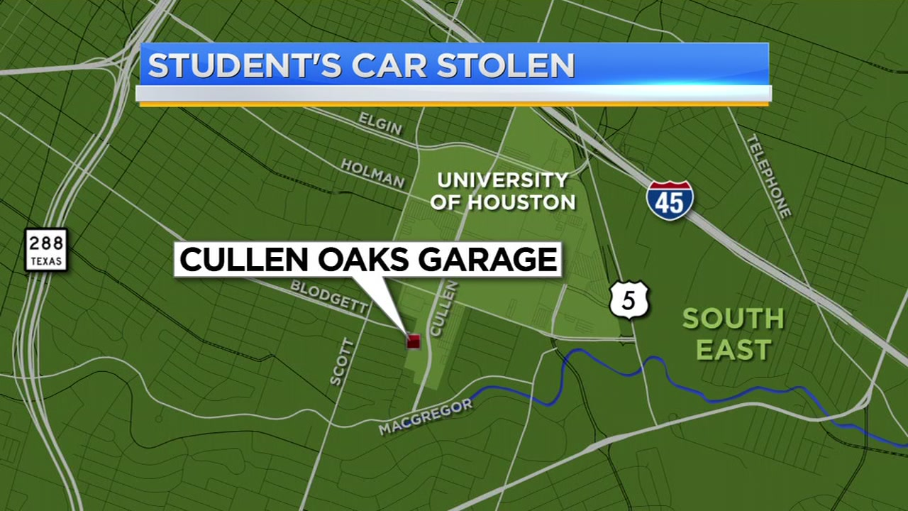 Police say three men robbed a student and took off with his car.