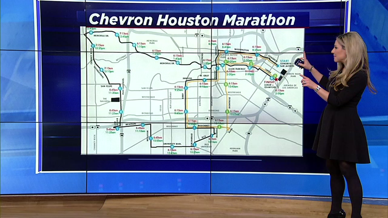 Drivers may need to make adjustments as roads are closed around the city for the Chevron Houston Marathon