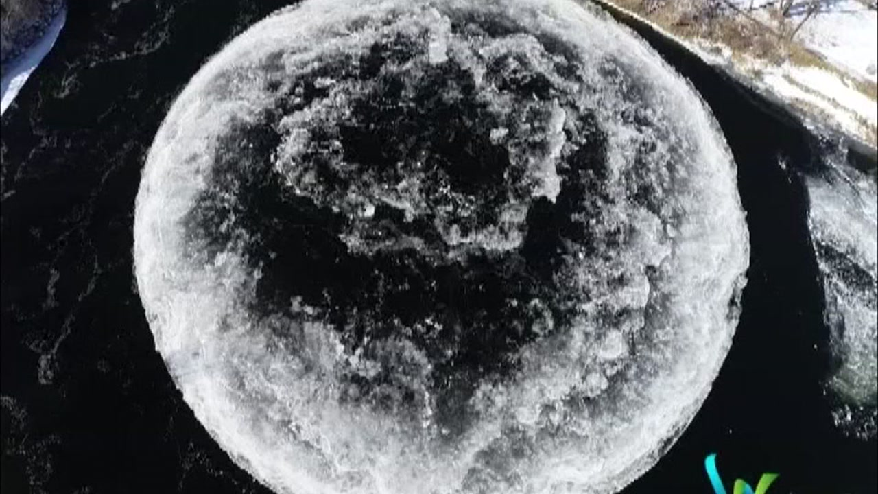 A curious formation thats getting attention in Greater Portland is actually a spinning ice disk that is roughly 100 yards wide.