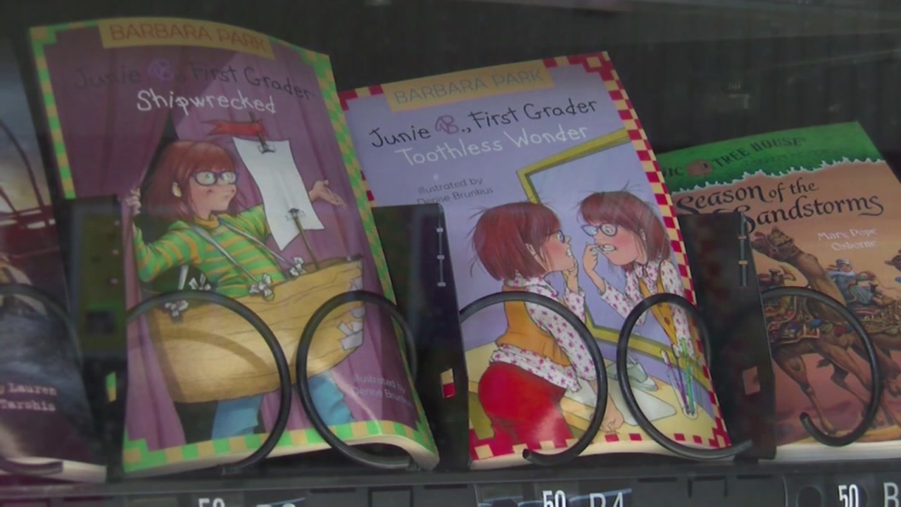 An elementary school has books instead of sweets in their vending machine.