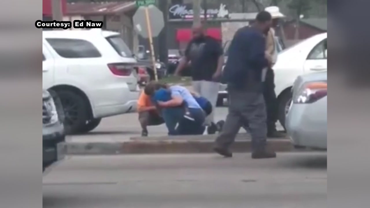 New video from an eyewitness shows the aftermath of a shooting that left a man with a gunshot wound to the head in front of his children.