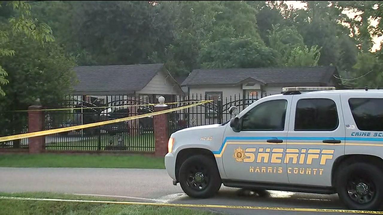 Authorities say several masked men shot a homeowner and held his girlfriend at gunpoint.