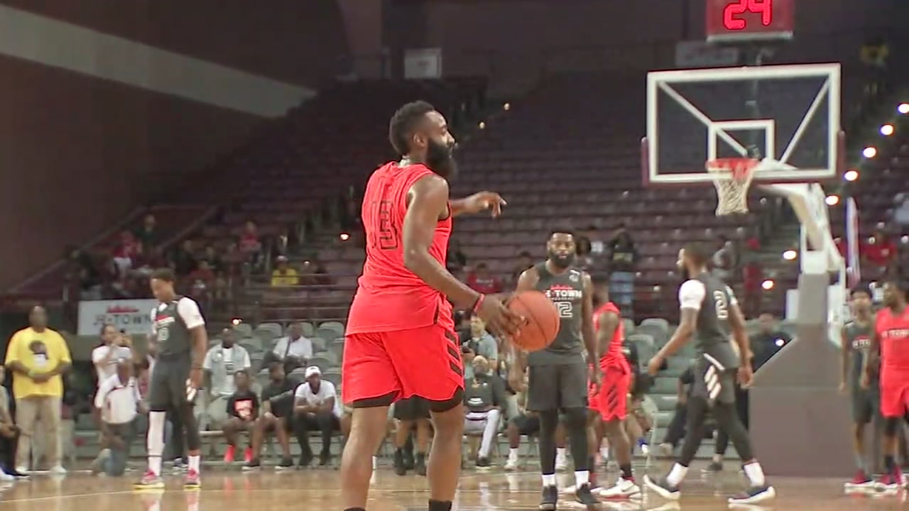 James Harden takes on celebrity friends in basketball game to raise money for foundation
