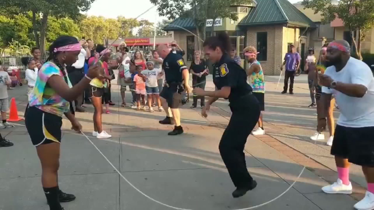 Police officers show off jump rope skills in viral video