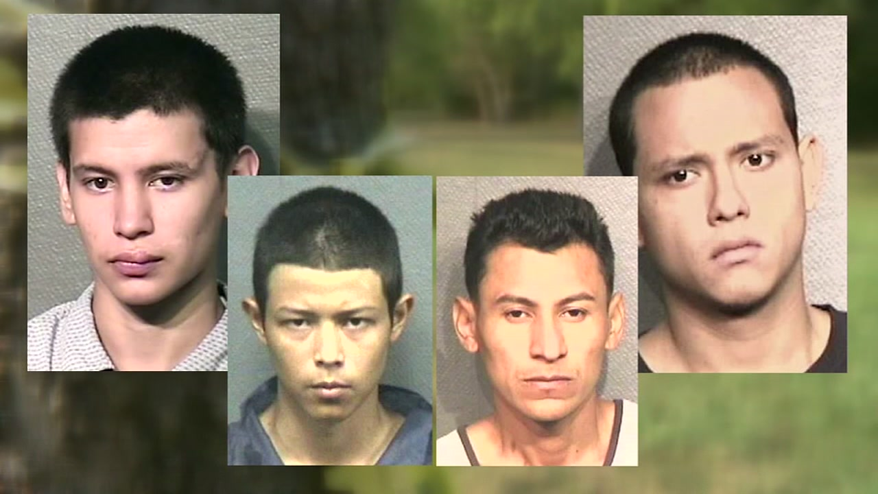 Four members of the MS-13 gang are behind bars after they allegedly murdered a police informant with a machete.
