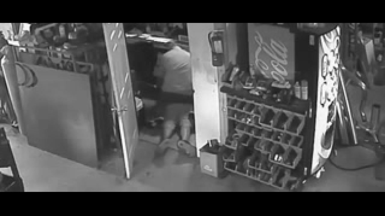 An auto shop worker was brutally beaten during a robbery.