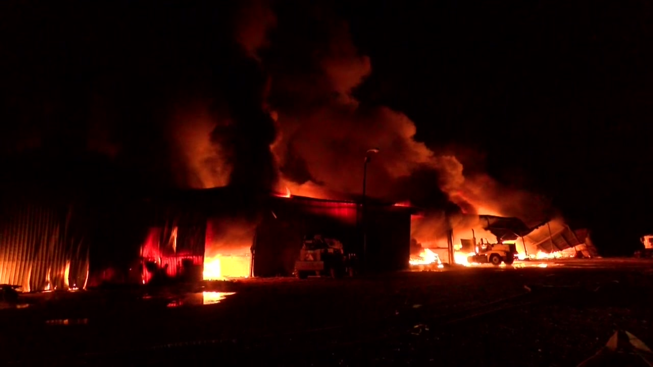 Officials battling warehouse fire in north Harris County