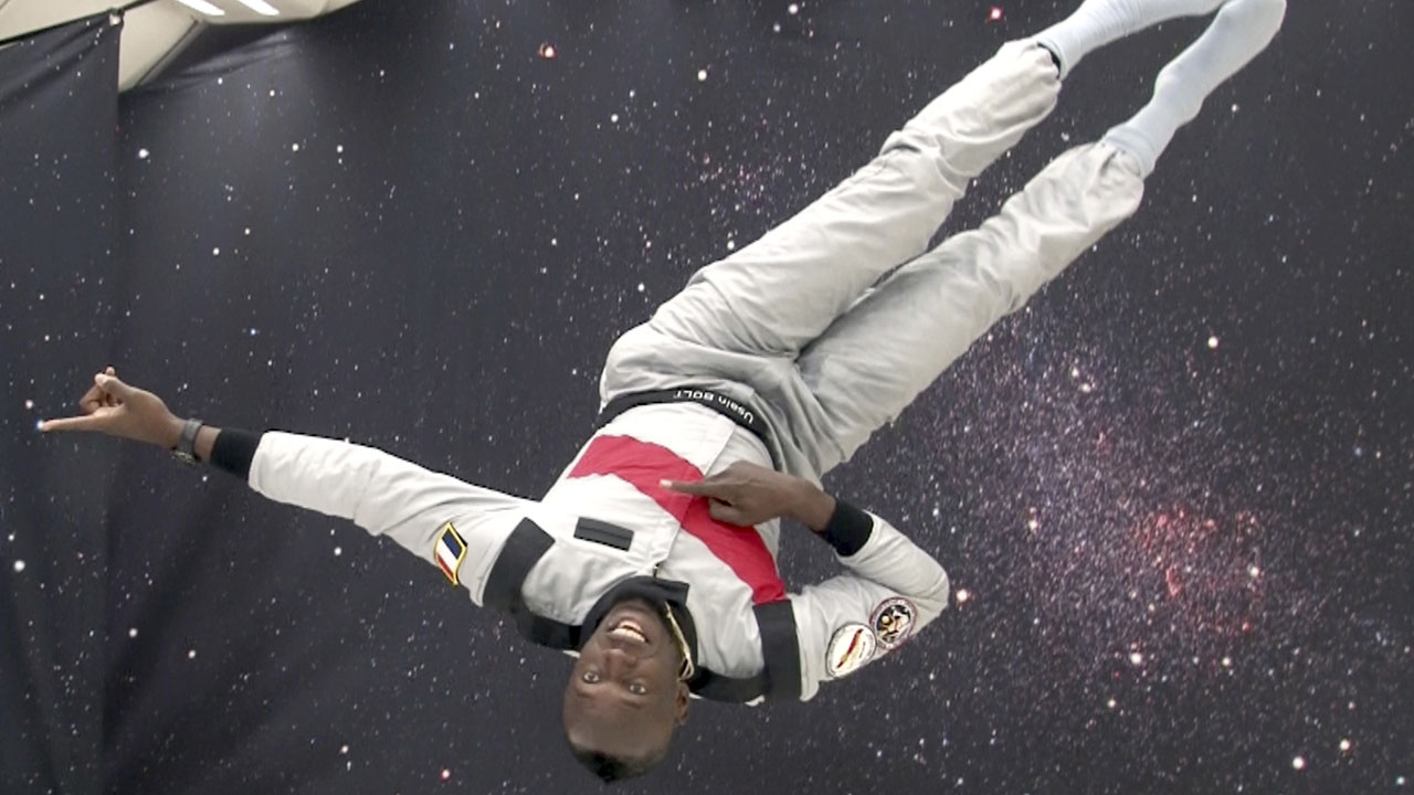 The fastest man in the world put his speed to the test in zero gravity.