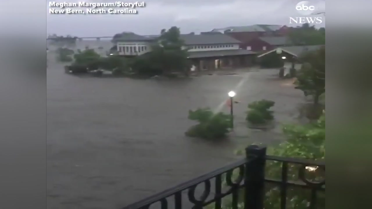 At least 150 people have needed to be rescued as the storm hits in New Bern, North Carolina.