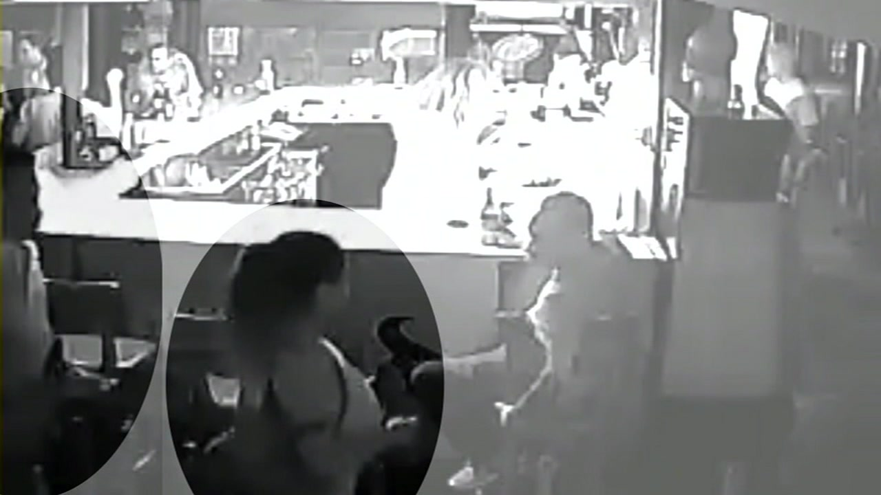 Surveillance camera shows Jennifer Sanchez and her estranged husband Joey Sanchez in bar, the night she went missing.