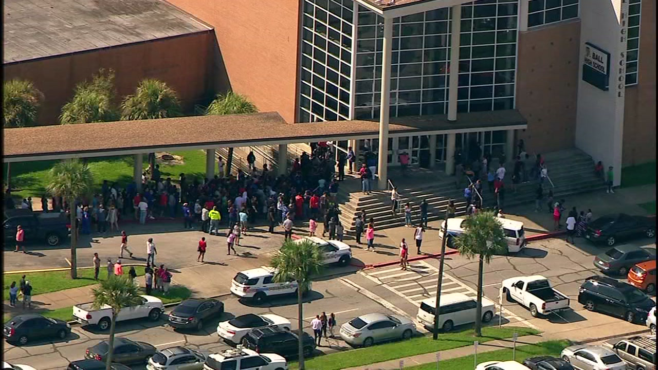 Parents lined up outside Galvestons Ball High School