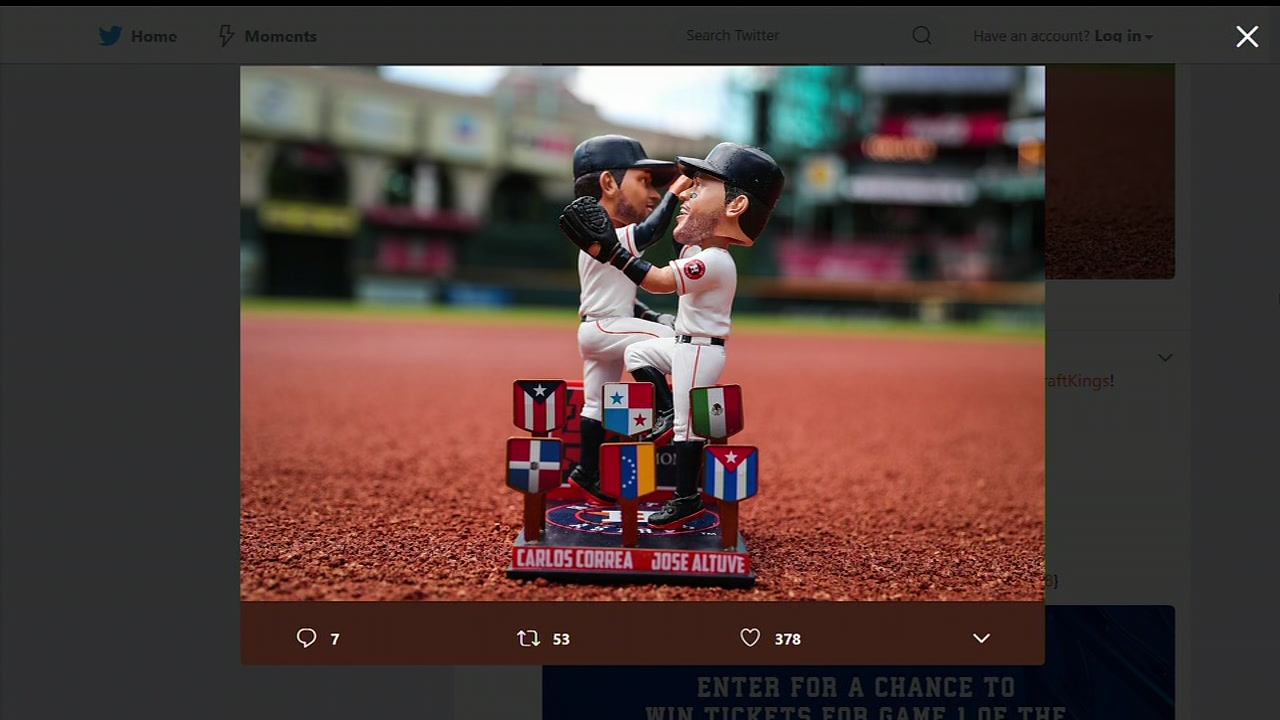 Carlos Correa and Jose Altuves signature celebration is now in bobblehead form.