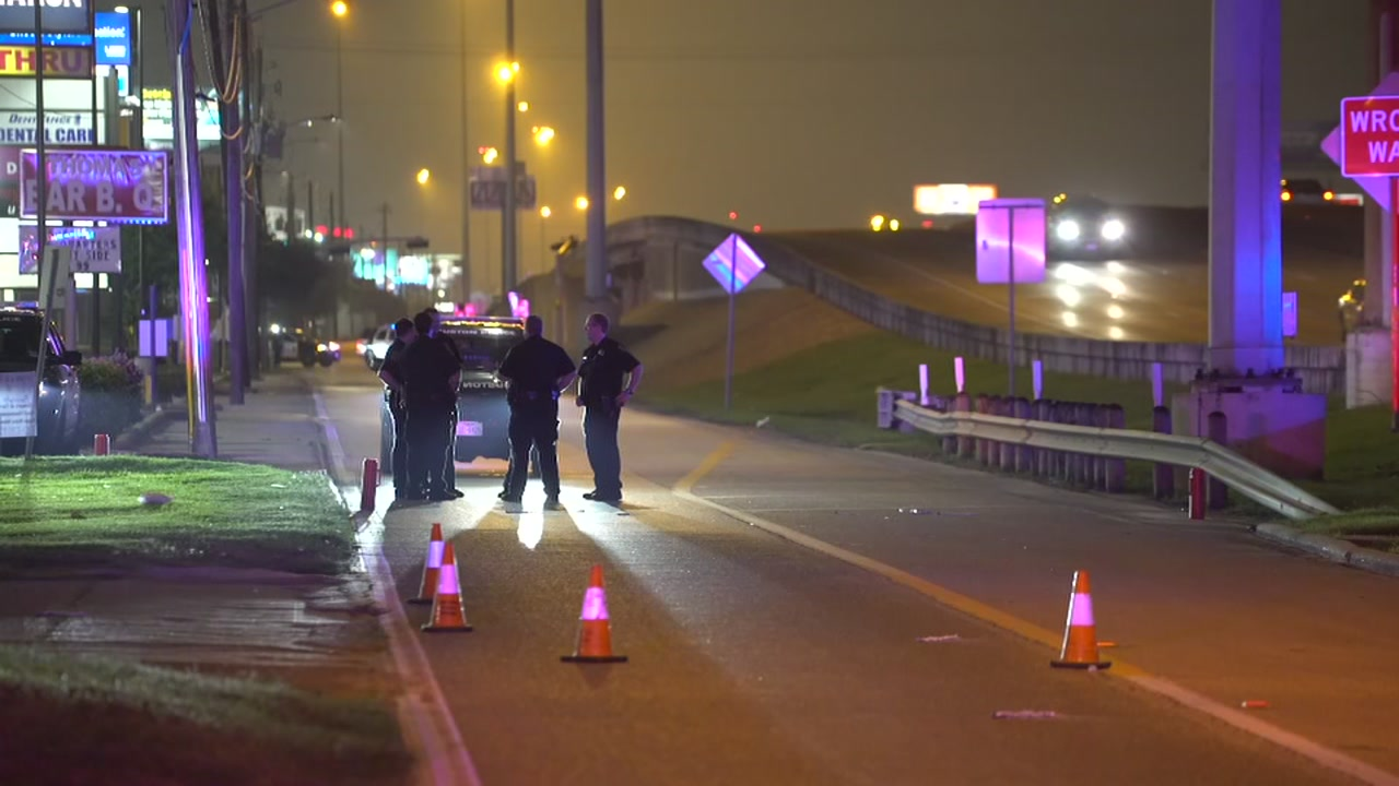 Houston police said a man skateboarding on the sidewalk along the North Freeway was killed by a driver who took off.