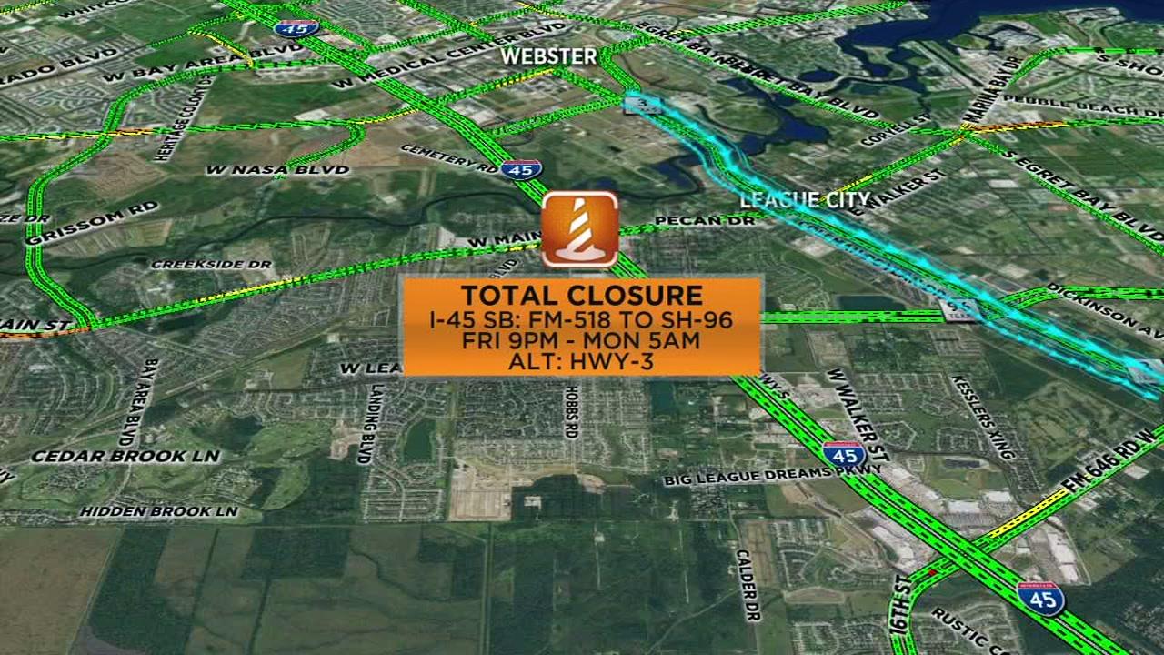 Major closures on 4 Houston highways this weekend