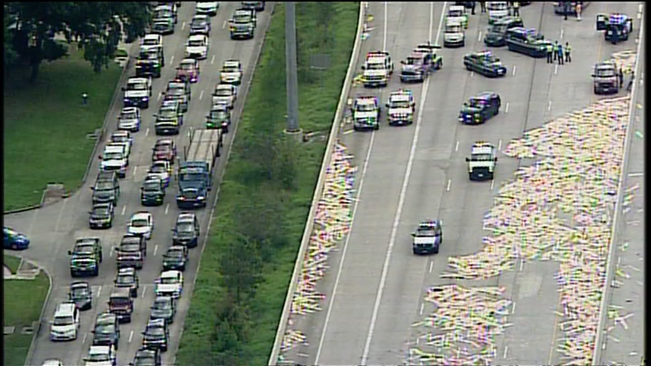 A truck lost a load of lumber causing a traffic nightmare on the Eastex Freeway near Kingwood Drive.