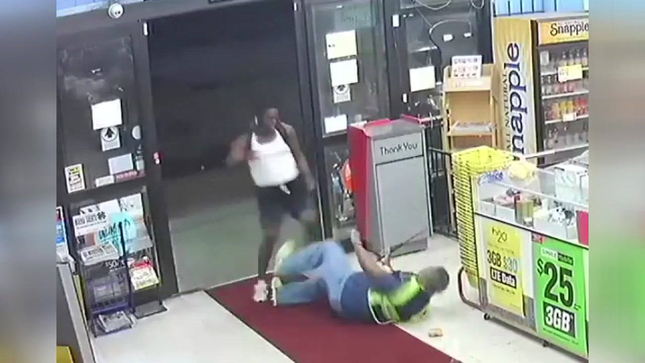 An accused thief slapped and kicked an employee who confronted him.