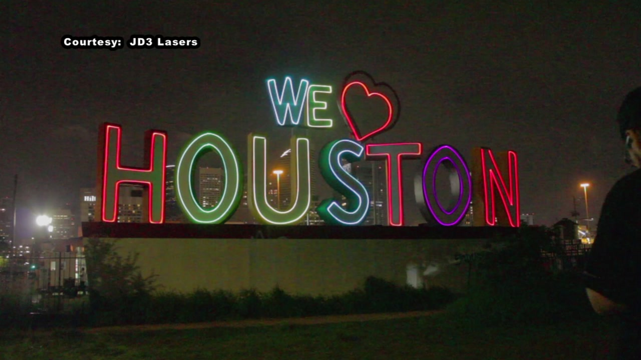 The iconic landmark was suddenly aglow in laser lights on Saturday night.