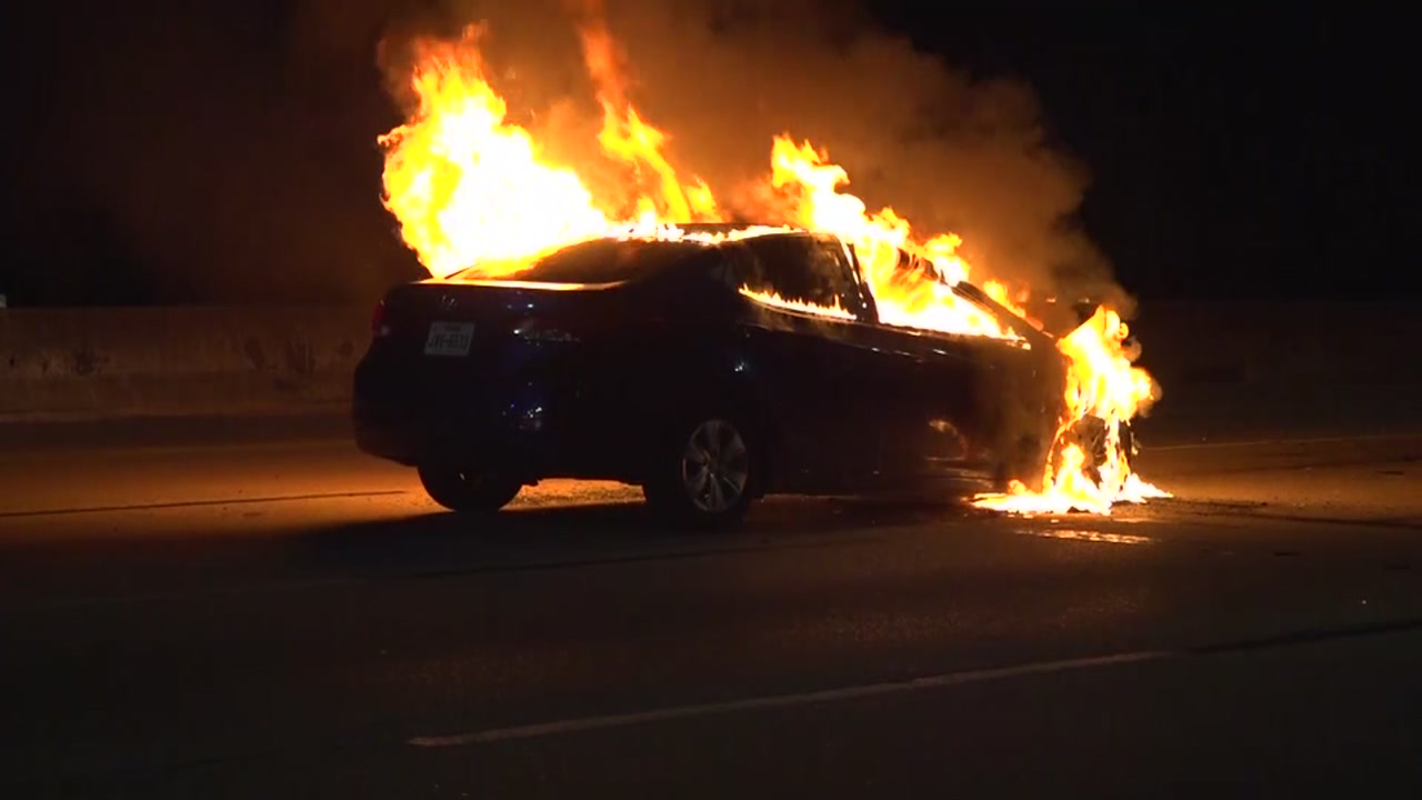 Driver runs after causing fiery crash.