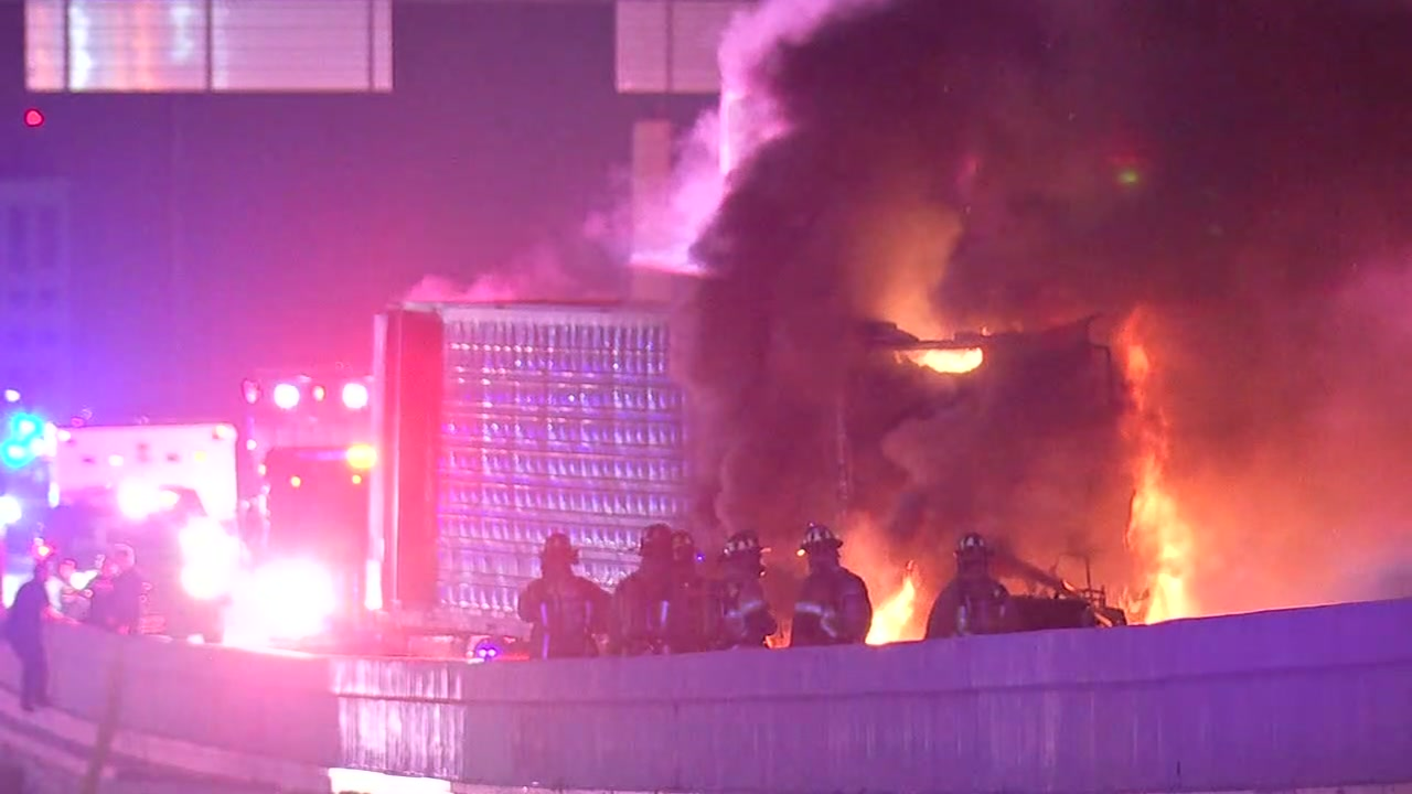 Traffic delays expected as crews work to clear 18-wheeler fire on Katy Freeway.