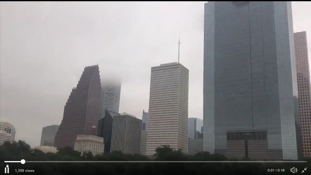 The clouds tried to swallow downtown Houston as fall arrived with a vengeance